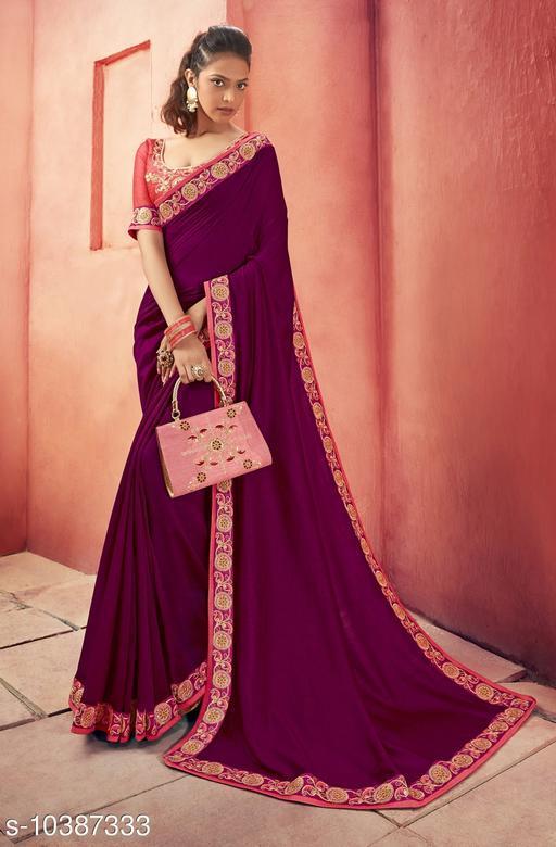Vallabhi Prints Purple Color Chanderi Silk Solid Party Wear Saree With Blouse Piece