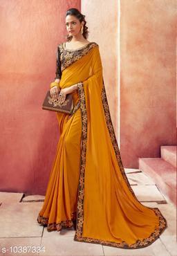 Vallabhi Prints Orange Color Chanderi Silk Solid Party Wear Saree With Blouse Piece
