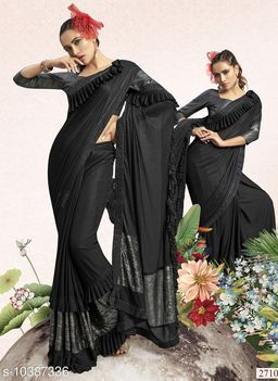 Vallabhi Prints Black Color Synthetic Solid Party Wear Saree With Blouse Piece