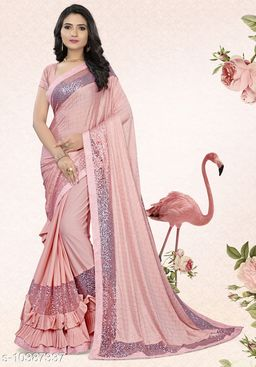 Vallabhi Prints Pink Color Synthetic Embroidered Party Wear Saree With Blouse Piece