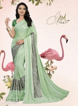 Vallabhi Prints Green Color Synthetic Embellished Party Wear Saree With Blouse Piece