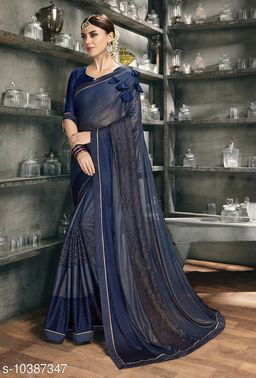 Vallabhi Prints Blue Color Synthetic Embellished Party Wear Saree With Blouse Piece