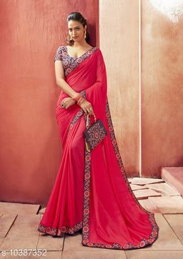 Vallabhi Prints Pink Color Chanderi Silk Solid Party Wear Saree With Blouse Piece
