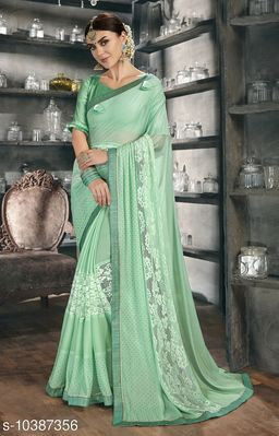 Vallabhi Prints Green Color Chiffon Embellished Party Wear Saree With Blouse Piece