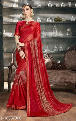 Vallabhi Prints Red Color Synthetic Embellished Party Wear Saree With Blouse Piece