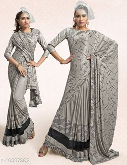 Vallabhi Prints Grey Color Synthetic Printed Party Wear Saree With Blouse Piece