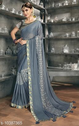 Vallabhi Prints Grey Color Synthetic Embellished Party Wear Saree With Blouse Piece