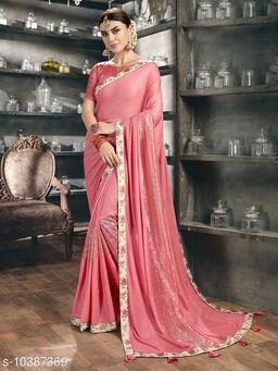 Vallabhi Prints Pink Color Synthetic Embellished Party Wear Saree With Blouse Piece