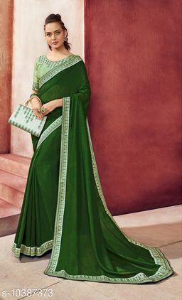 Vallabhi Prints Green Color Chanderi Silk Solid Party Wear Saree With Blouse Piece