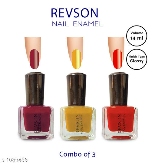 Nails Premium Glossy Nail Polish(Pack of 3)  *Product Name* Revson Nail Polish  *Product  Type* Nail Polish  *Brand Name* Revson  *Capacity* 14 ml  *Shade* Multicolour  *Finish Type* Glossy  *Applicator * Brush  *Package Contains* It Has 3 Pack of Nail Polish  *Sizes Available* Free Size *   Catalog Rating: ★3.8 (1670)  Catalog Name: Revson Premium Glossy Nail Polish Combo Vol 3 CatalogID_126030 C51-SC1244 Code: 321-1039456-
