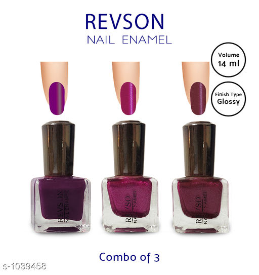 Nails Premium Glossy Nail Polish(Pack of 3)  *Product Name* Revson Nail Polish  *Product  Type* Nail Polish  *Brand Name* Revson  *Capacity* 14 ml  *Shade* Multicolour  *Finish Type* Glossy  *Applicator * Brush  *Package Contains* It Has 3 Pack of Nail Polish  *Sizes Available* Free Size *   Catalog Rating: ★3.8 (1670)  Catalog Name: Revson Premium Glossy Nail Polish Combo Vol 3 CatalogID_126030 C51-SC1244 Code: 321-1039458-
