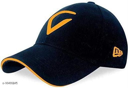 Trendy Unisex Blue Cotton Caps