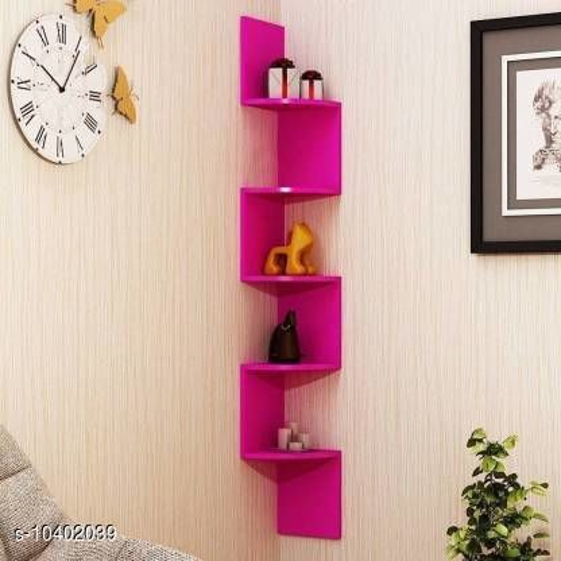 Wooden Zigzag Shelf (Pink)