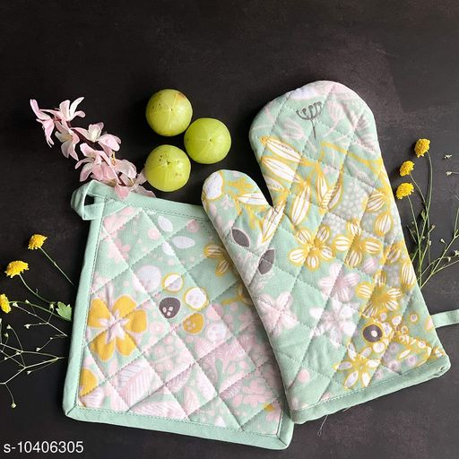 HOME Printed Cotton Oven Mitten with Pot Holder