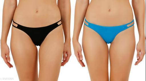 Women Bikini Black Hosiery Panty (Pack of 2)