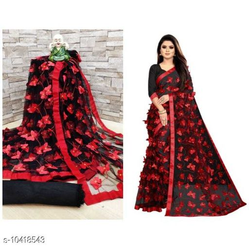 Super Mono Net With Embrodery Saree