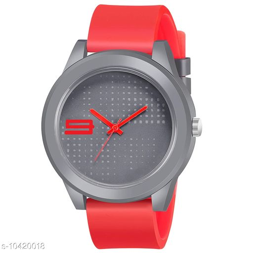 (MT-108) Silver Dial  Red Rubber Belt and Silver Case Analogue MT Watch for Men's and Boy's Pack of - 3