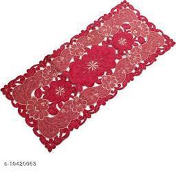 Groki Red Cotton Floral Design Table Runner