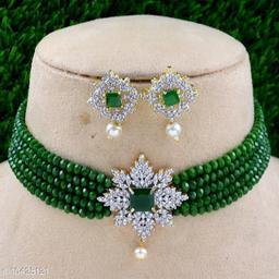 Americandiamond and pearl chokar set
