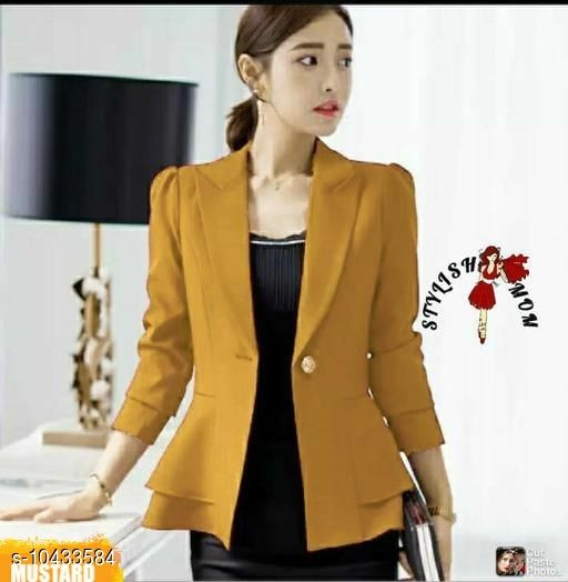Blazers Stylish Fashionista Women Blazers & Coats Fabric: Cotton Pattern: Solid Multipack: 1 Sizes:  S (Bust Size: 34 in, Length Size: 24 in)  XL (Bust Size: 40 in, Length Size: 24 in)  L (Bust Size: 38 in, Length Size: 24 in)  M (Bust Size: 36 in, Length Size: 24 in)  Sizes Available: S, M, L, XL   Catalog Rating: ★3.7 (497)  Catalog Name: Pretty Fashionista Women Blazers & Coats CatalogID_1900634 C79-SC1029 Code: 815-10433584-