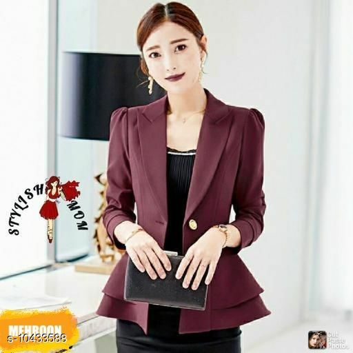 Blazers Classic Elegant Women Blazers & Coats Fabric: Cotton Pattern: Solid Multipack: 1 Sizes:  S (Bust Size: 34 in, Length Size: 24 in)  XL (Bust Size: 40 in, Length Size: 24 in)  L (Bust Size: 38 in, Length Size: 24 in)  M (Bust Size: 36 in, Length Size: 24 in)  Sizes Available: S, M, L, XL   Catalog Rating: ★3.7 (497)  Catalog Name: Pretty Fashionista Women Blazers & Coats CatalogID_1900634 C79-SC1029 Code: 815-10433588-