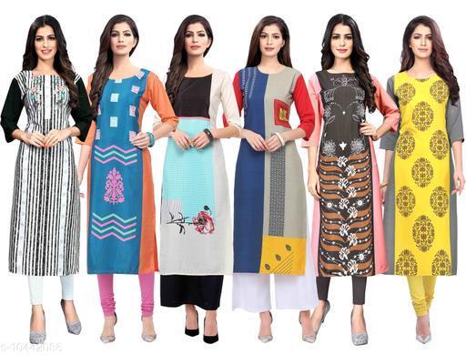 Women's Crepe Digital Print Dress (Pack Of 6)