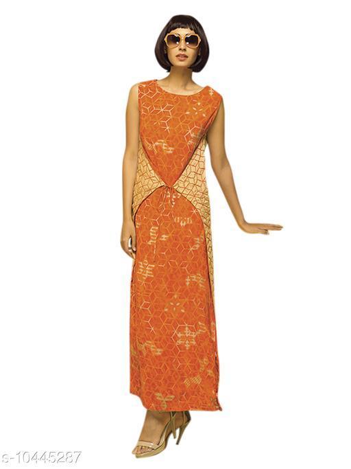 Women Cotton Layered Printed Orange Kurti