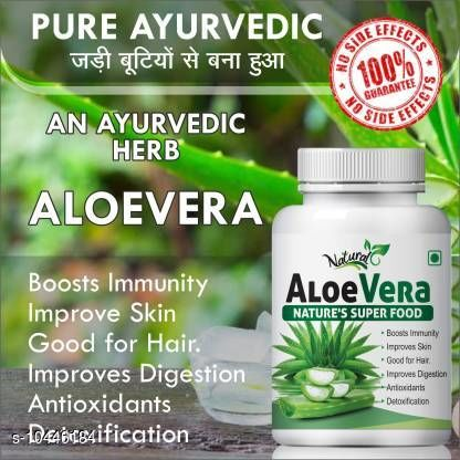 Ayurveda & Herbs NATURAL Aloevera Boost Immiunity Improve Skin & Hair 100% Ayurvedic (60 Tablets)   *Product Name* NATURAL Aloevera Boost Immiunity Improve Skin & Hair 100% Ayurvedic  *Brand Name * Natural  *Type*   *Multipack* 1/2  *Size* Variable (Product Dependent)  *Sizes Available* Free Size *    Catalog Name:  Aloevera Boost Immiunity Improve Skin & Hair  Ayurvedic  CatalogID_1903820 C126-SC1312 Code: 926-10446184-