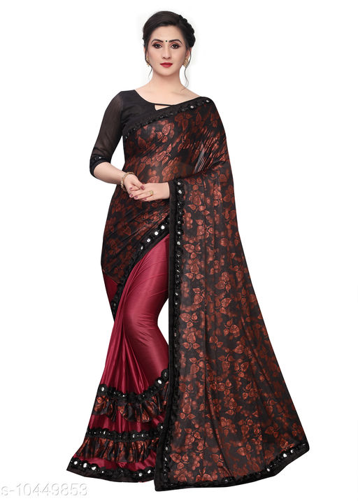 Amazing Lycra Saree With Blouse Piece For Women