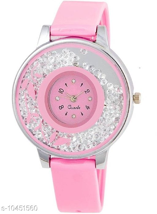 Pink Color Diamond Dial Girls Watch