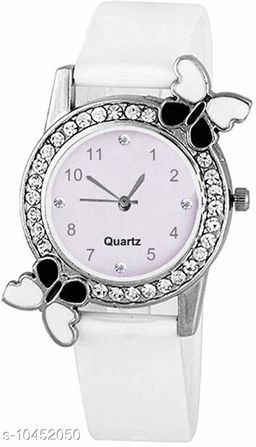 White color Butterfly Designed Dial Girls Watch