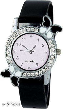 Black color Butterfly Designed Dial Girls Watch