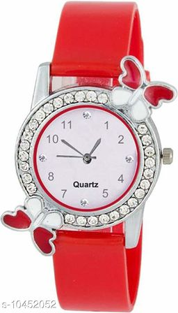 Red color Butterfly Designed Dial Girls Watch