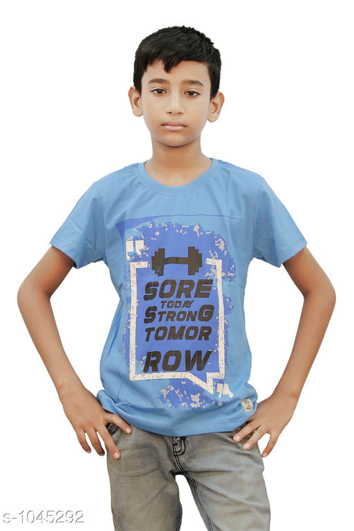 Tshirts & Polos Elegant Cotton Knitted Boy's T-shirt  *Fabric* Cotton Knitted  *Sleeves* Half Sleeves Are Included  *Size* Age Group (2 - 3 Years) - 20 in Age Group (3 - 4 Years) - 22 in Age Group (5 - 6 Years) - 24 in Age Group (7 - 8 Years) - 26 in Age Group (9 - 10 Years) - 28 in Age Group (10 - 11 Years) - 30 in Age Group (11 - 12 Years) - 32 in Age Group (12 - 13 Years) - 34 in  *Type* Stitched  *Description* It Has 1 Piece Of Boy's T shirt  *Work* Printed  *Sizes Available* 2-3 Years, 3-4 Years, 5-6 Years, 7-8 Years, 8-9 Years, 9-10 Years, 10-11 Years, 11-12 Years, 12-13 Years *   Catalog Rating: ★4 (48)  Catalog Name: Stylo Bug Amazing Cotton Knitted Boy's T-shirts Vol 2 CatalogID_126970 C59-SC1173 Code: 491-1045292-