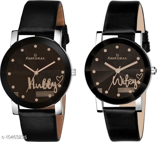 FastDeals Hubby & Wifey couple Dial Leather Strep Couple Watch Analog Watch - For Men & Women