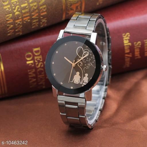 Skylark Black Dial Stainless Steel Chrome Plated Women Watches & Girls watch Love Watch Analog Watch - For Women