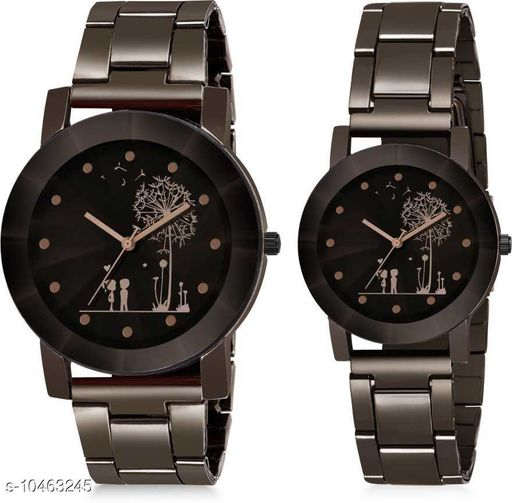 Skylark Premium Couple Tree Lovers Black Dial Black Stainless Steel Chrome Plated Analogue Couple Watch
