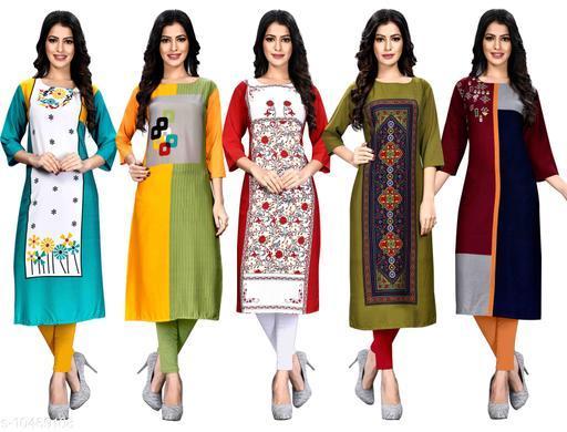 Women's Crepe Digital Print Dress (Pack Of 5)