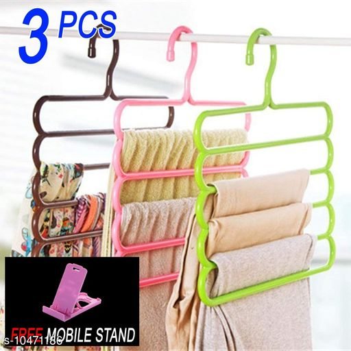 FREE MOBILE STAND WITH Space Saving Plastic Multi-Functional Storage Wardrobe  Organizer Hanger for Shirts, Pants, Skirts (Set of 3, MultiColor )