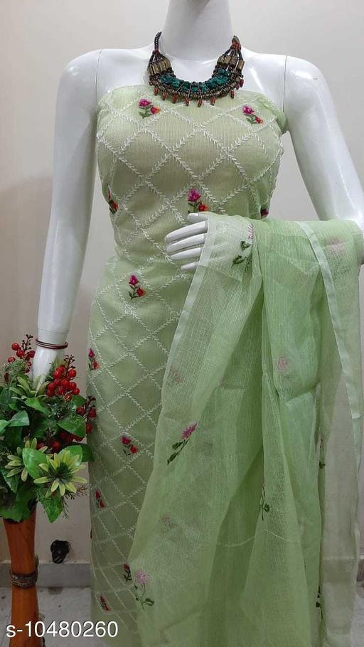 Attractive Kota Doria Dress Material  thread embroidery work