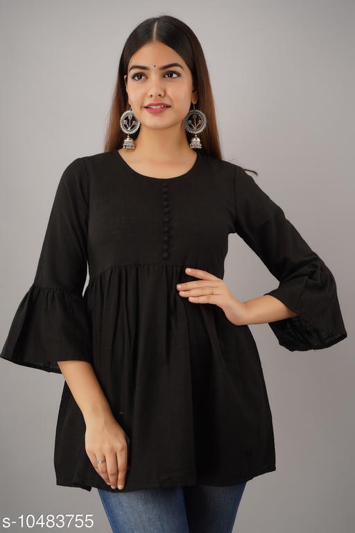 Alisha Black Cotton Solid Girls Top