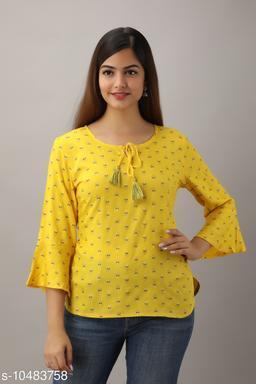Alisha Yellow Rayon Printed Girls Top
