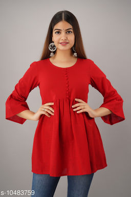 Alisha Red Cotton Solid Girls Top