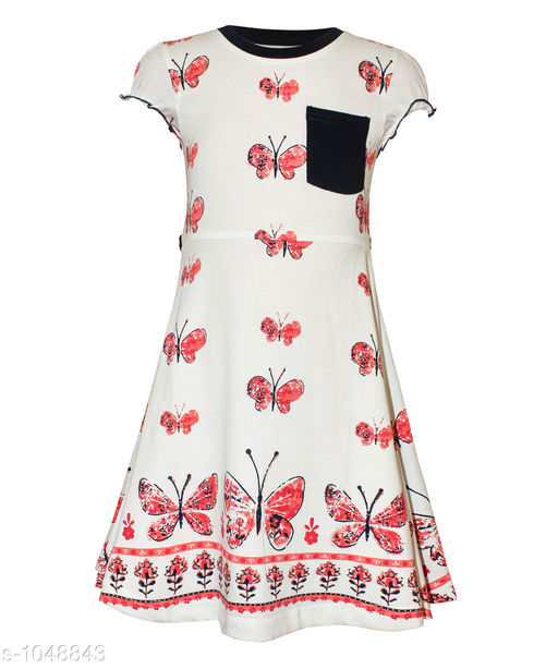 Frocks Elegant Fashionable Cotton Knitted Frock  *Fabric* Cotton Knitted  *Sleeves* Short Sleeves Are Included  *Size* Age Group (2 - 3 Years) - 20 in Age Group (3 - 4 Years) - 22 in Age Group (5 - 6 Years) - 24 in Age Group (7 - 8 Years) - 26 in  *Type* Stitched  *Description* It Has 1 Piece Of  Girl's Frock  *Work* Printed  *Sizes Available* 2-3 Years, 3-4 Years, 5-6 Years, 7-8 Years *   Catalog Rating: ★3.8 (76)  Catalog Name: Girl's Fashionable Cotton Knitted Frocks Vol 1 CatalogID_127631 C62-SC1144 Code: 413-1048843-
