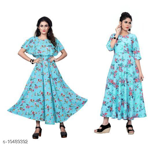 Combo of two piece Adelyn Stylish American Crepe Printed Kurtis with Dresses