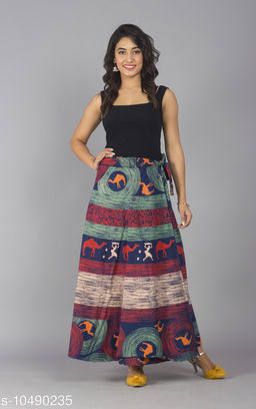 Jaipuri Print Aqua Blue Cotton Wrap Around Skirt for Women/ Girls