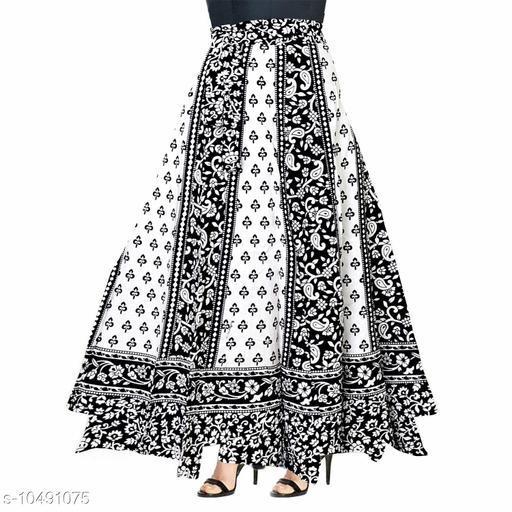 Jaipuri Ethnic Printed Cotton Black Wrap Around Skirt for Women/ Girls