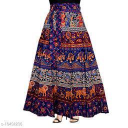 Jaipuri Ethnic Printed Cotton Blue Wrap Around Skirt for Women/ Girls
