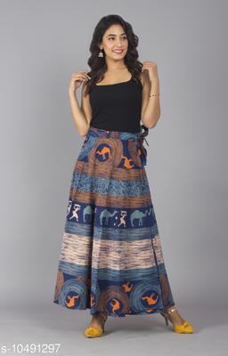Jaipuri Ethnic Printed Cotton Aqua Blue Wrap Around Skirt for Women/ Girls