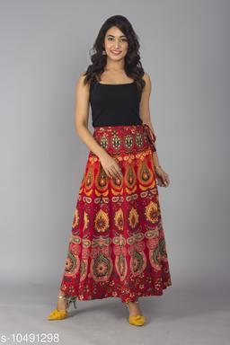 Jaipuri Ethnic Printed Cotton Red Wrap Around Skirt for Women/ Girls